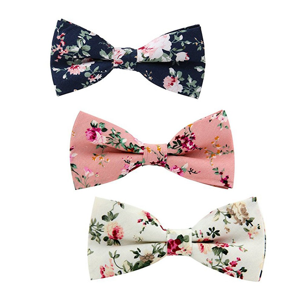 Mens Bow Ties Cotton Bowtie Tuxedo Pre-tied Floral Printed Bow Tie 3 PCS