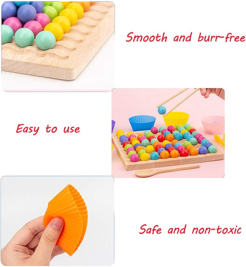 Childrens Hands Brain Training Wooden Go Games Set Dots Shuttle Beads Board Games Wooden Clip Beads Rainbow Matching Toy Puzzle Board Game
