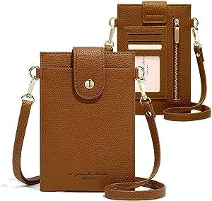 Womens Fashion Small Crossbody Bag Light Leather Cellphone Case Wallet Shoulder Purse Credit Card Holer Handbag Girls Travel Passport Pouch Messenger Satchel for iPhone 11 Pro Max 6/7/8 Plus (Brown)