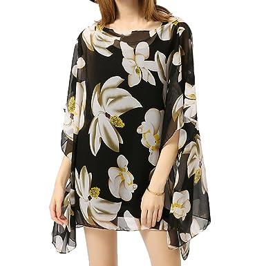 cc637fbb82 Women Bikini Swimsuit Beach Cover Ups Mingfa Chiffon Thin Floral Beachwear  Swimwear Sunscreen Shawl Cardigan Tops Blouse Smock (Black, ...