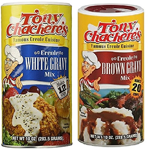 Tony Chachere's Creole Gravy Bundle - 1 Each of 10 Ounce White Gravy Mix and 10 Ounce Brown Gravy Mix by Tony Chachere's