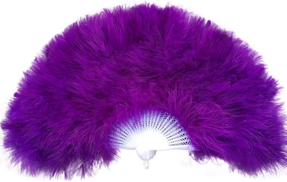 Showgirl de Mariage Danse /él/égante Grande Plume Main Fan de d/écor de d/écor de d/écalque Momola Eventail Pliant Fait Main de Paon Orange