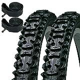 Kenda Smoke 26' x 1.95 Mountain Bike Knobbly Tyres & Schrader Inner Tubes (Pair)