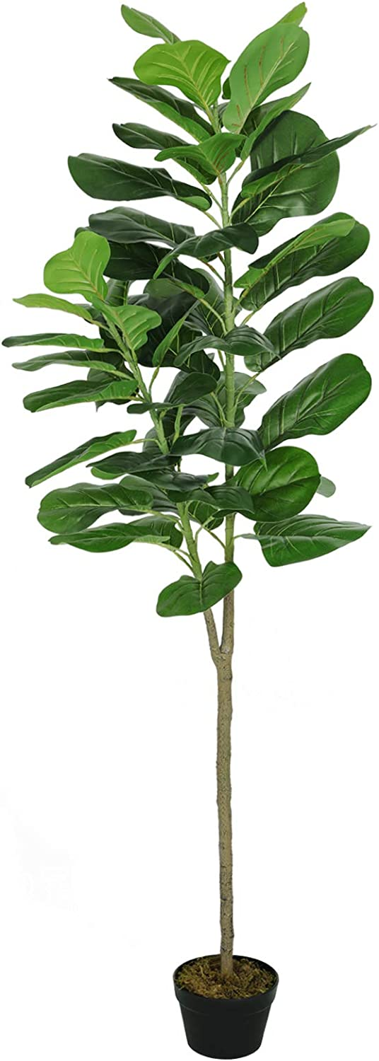 VIAGDO Artificial Fiddle Leaf Fig Tree 6ft Tall Fake Ficus Lyrata Plant in Pot 49 Leaves Artificial Fiddle Leaf Indoor Decor, Decorative Fake Fig Leaf Silk Tree for Living Room Home Office Restaurant