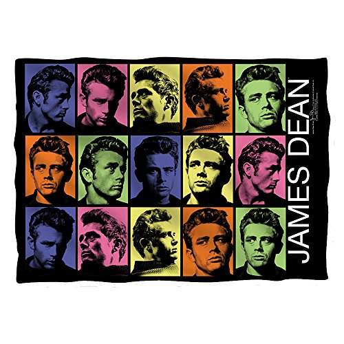 JAMES DEAN/COLOR BLOCK (FRONT/BACK PRINT) - POLY 20X28 PILLOW CASE - White - ONE SIZE by Trevco