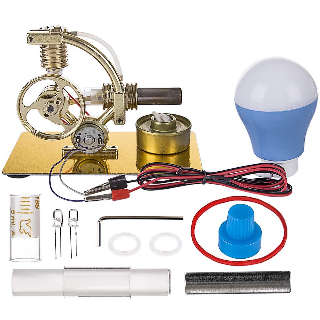 Yamix Stirling Engine Kit, L-Shape Single Cylinder Hot Air Stirling Engine Model with All-Metal Base and Big Bulb (Bulb Color Random)