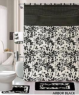 Captivating 18 Piece Bath Rug Set Black White Beige Leaf Print Bathroom Rugs Shower  Curtain/rings