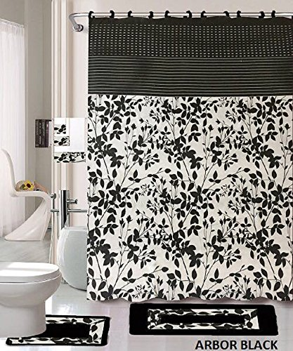 18 Piece Bath Rug Set Black White Beige Leaf Print Bathroom Rugs Shower Curtain Rings