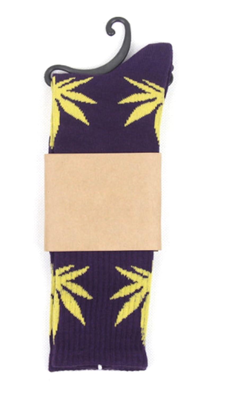 Calcetines con diseño de marihuana, color morado con hojas verdes: Amazon.es: Salud y cuidado personal