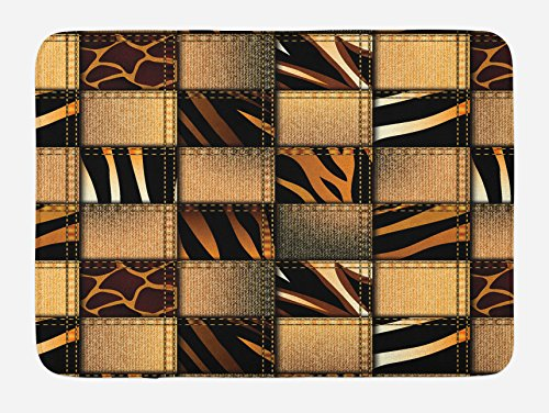 Ambesonne Safari Bath Mat, Jeans Denim Patchwork in Safari Style Wilderness Stylized Design Art Print, Plush Bathroom Decor Mat with Non Slip Backing, 29.5 W X 17.5 L Inches, Brown and Black