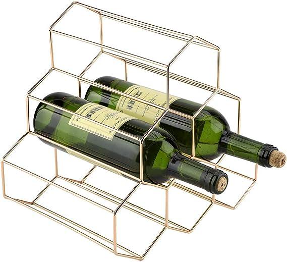 Casier /à Vin En M/éTal Casier /à Vin /ÉTag/èRe /à Bouteille Rangement Bouteilles Vin Porte Bouteille Autoportant Peut Contenir 6 Bouteill /éTag/èRes /à Vin G/éOm/éTriques Empil/éEs