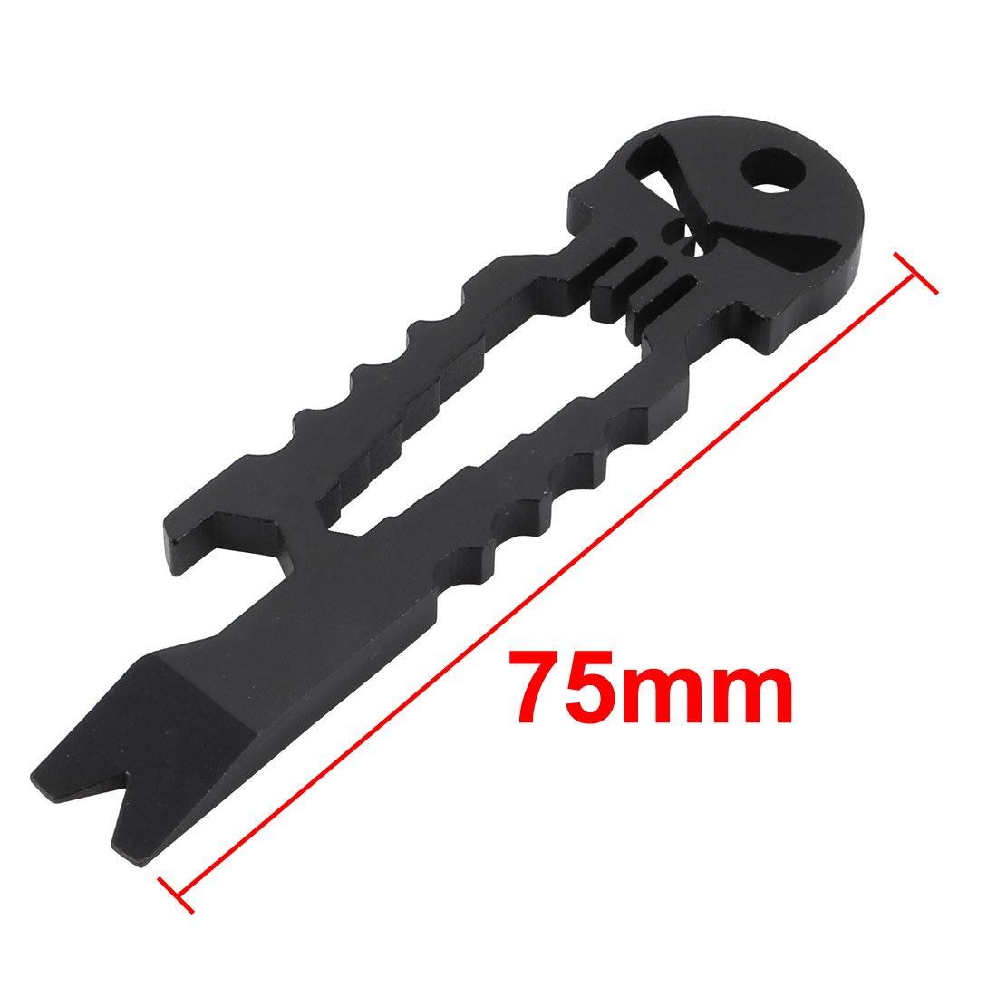 EDC Black Keychain 7-in-1 Multi function Tool Pry Bar Bottle Opener Pocket Tools