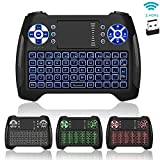 : Mini Keyboard Backlit, Jelly Comb Rechargable Wireless Small Keyboard with Touchpad Mouse and Multimedia Keys, 2.4Ghz USB Handheld Remote Control Keyboard for PC, HTPC, Media, Android TV Box, Smart TV