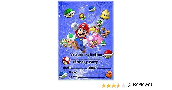 Super Mario fundido fiesta de cumpleaños invitaciones – vertical diseño – fiesta suministros/accesorios (Pack de 12 invitaciones A5) WITH Envelopes: Amazon.es: Oficina y papelería