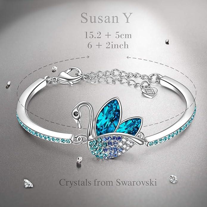 Susan Y Cadeau de Noel Bracelet Femme Cristaux de Swarovski Bleu Plaqu/é Or Blanche Bijoux pour Elle Hypoallerg/énique Emballage Cadeau