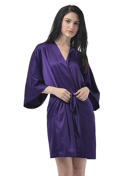 Remedios Mujeres Ropa de dormir Pijamas vestido de kimono del camisón del Albornoz, Berenjena,