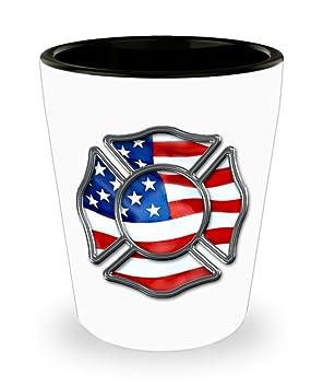 Bombero vasos de chupito - cromo Cruz de Malta de bandera de Estados Unidos - gran regalo para cualquier bombero en casa o en la estación: Amazon.es: Hogar