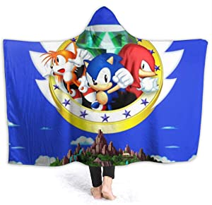 Winter Hooded Blankets for Kids Youth, Sonic The Hedgehog 3 & Knuckles Game Poster Wearable Blankets for Wedding, Dorm Room, Park, Lightweight Warm Poncho Cloak Cape