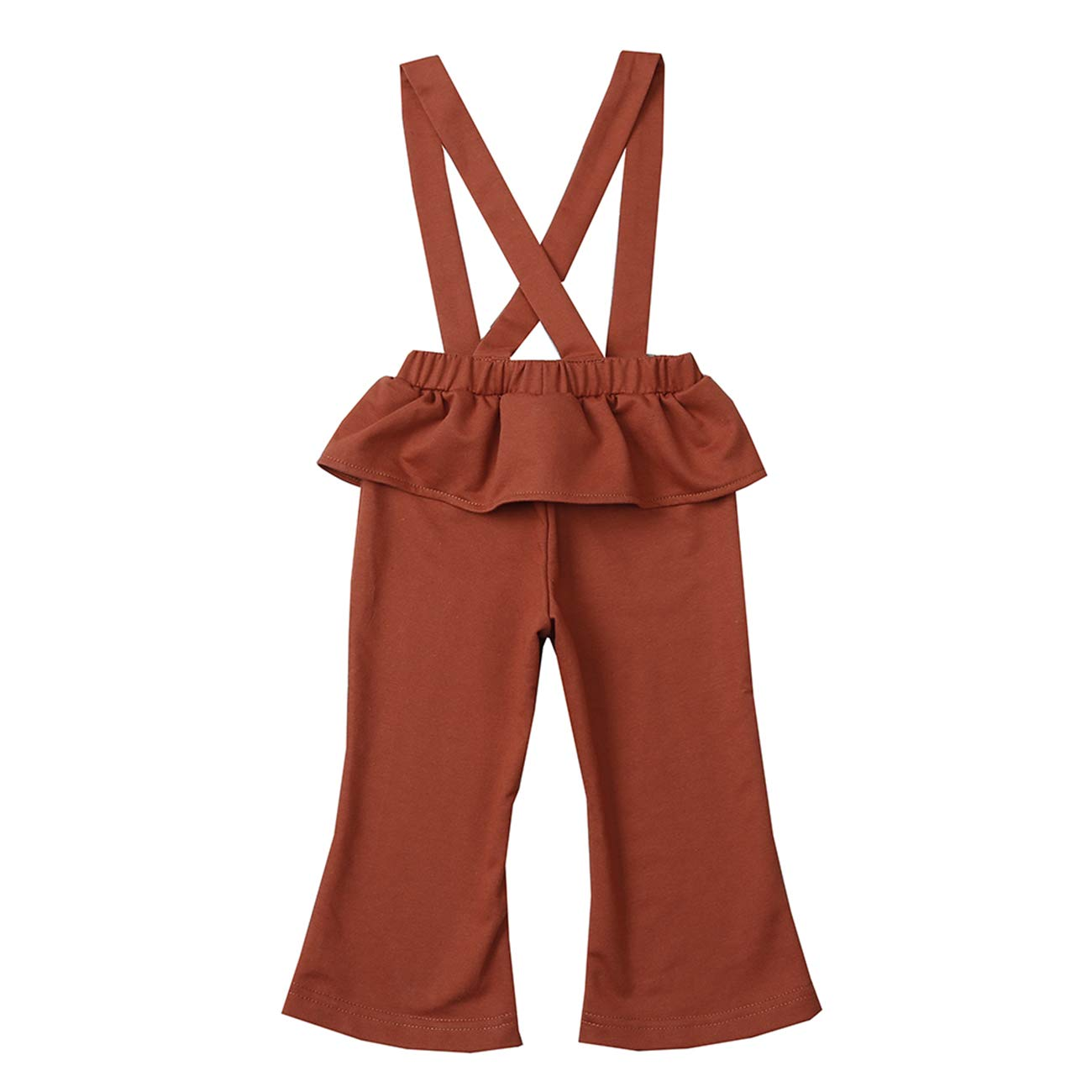 AIKSSOO Toddlers Girls Casual Pants Ruffle Waist Suspender Overalls Bell Bottoms