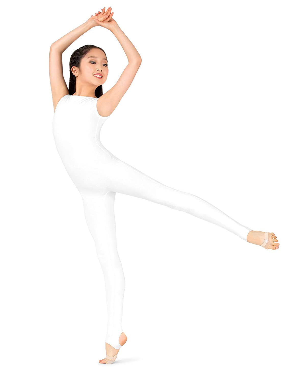 7249506dbc6327 Amazon.com: Womens Plus Size Sueded Cotton Deep V-Back Stirrup Dance  Unitard MM110PWHT1X White 1X: Clothing