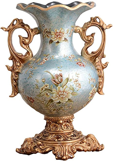 Retro Resin Flowers Vasesfor Living Dining Room Table Centerpiece Bedroom Office Hotel Home Decoration Hand Painted Tall Decorative Vase Best Wedding Gift Blue 38 25cm Amazon Ca Home Kitchen