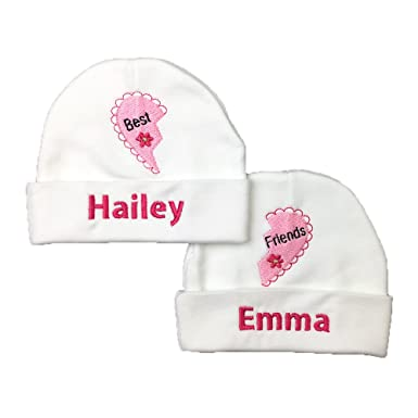 bac91c6d11f Ava s Miracles Personalized Twin Girls Hats for Best Friends - Preemie Twin  Girls Hats