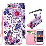 UrSpeedtekLive Butterfly Pattern Premium PU Leather Flip Wallet Case Cover W/ Wristlet Strap for iPod Touch 5th 6th Generation (Built-in Credit Card/ID Card Slot)