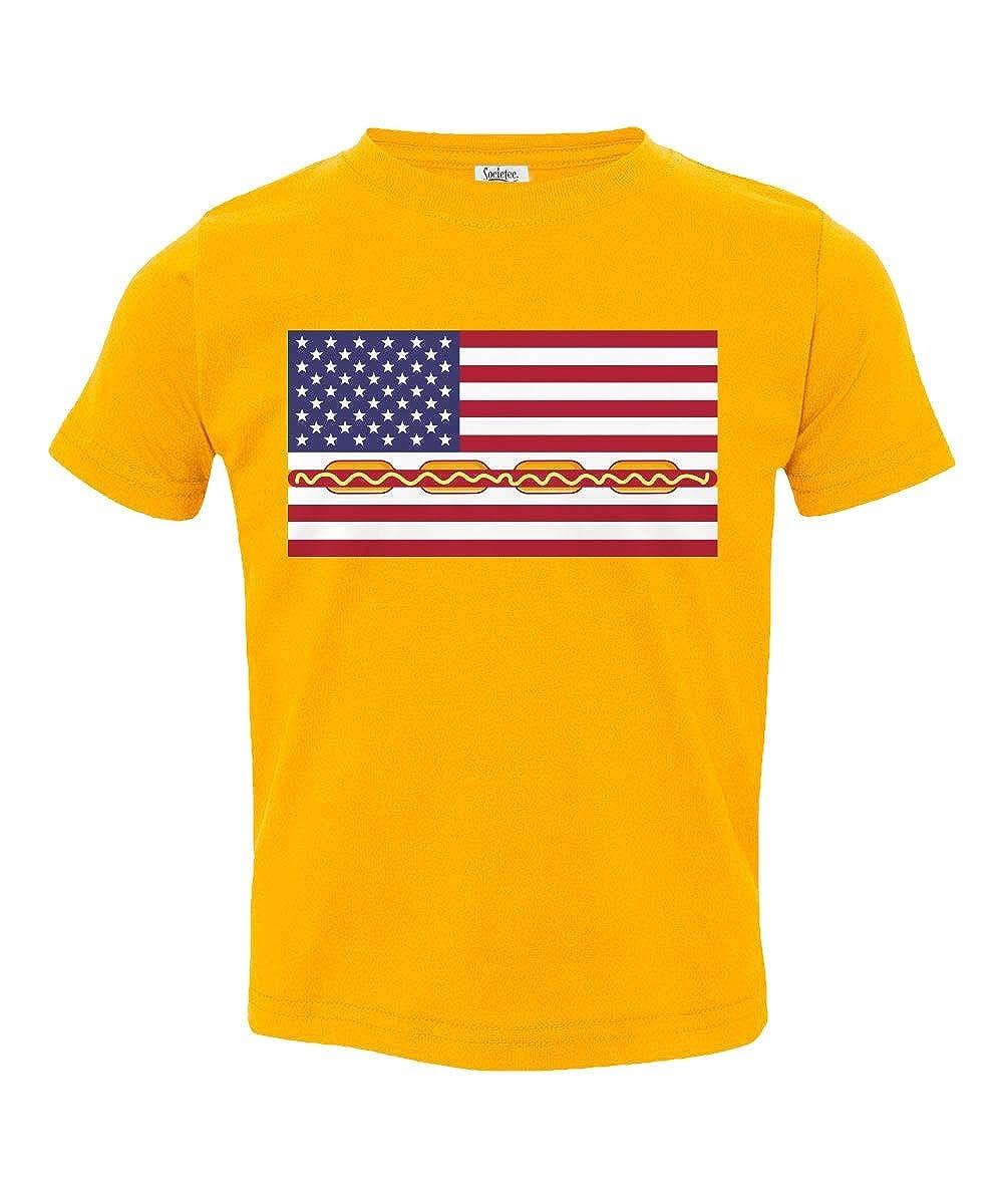 Societee Hot Dog American Flag Cute Little Kids Girls Boys Toddler T-Shirt