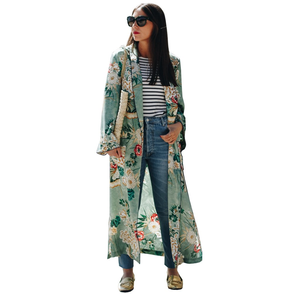 BB&KK Womens Boho Long Sleeve Wrap Kimono Cardigans Casual Cover Up Coat Tops Outwear (XL)