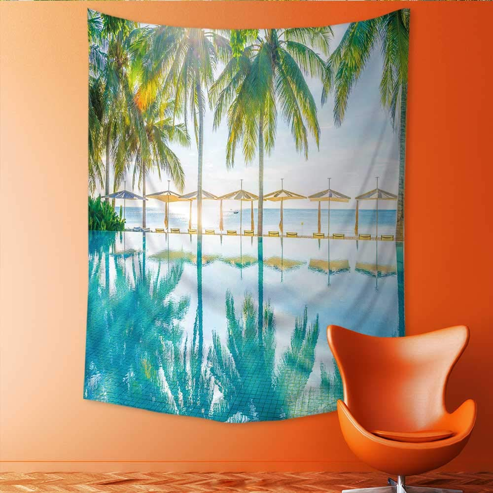Auraisehome Vertical Version Tapestry Beautiful Luxury Hotel Pool Resort Nearly Beach Bright Light Processing Style Throw, Bed, Tapestry, or Yoga Blanket 54W x 84L INCH