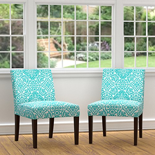 Portfolio Nate Turquoise Blue Damask Armless Chairs (Set of 2)
