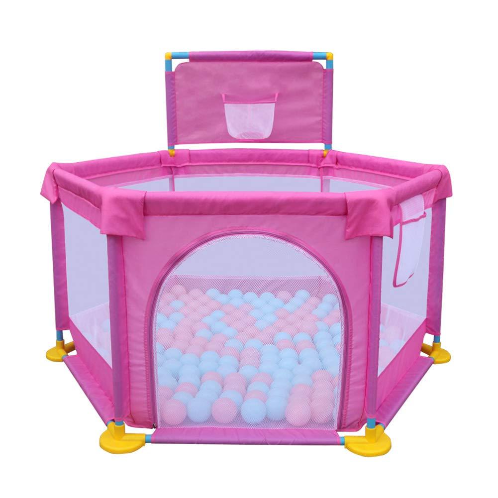 幼児の柵の安全クロールバーの赤ちゃんの遊び場の家耐衝撃性のおもちゃの家子供の柵、高さ66cm、カラーオプション (色 : Pink)  Pink B07H7YD61T