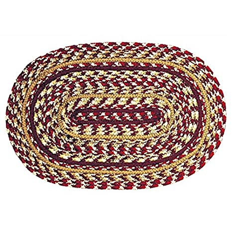 Ihf Home Decor Checkerberry Braided Rug Placemat Oval Farmhouse Kitchen Jute Natural Fiber 13 X 19 Inch Set Of 4