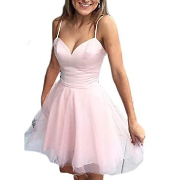 Fishlove Short Backless Blush Tulle Homecoming Prom Dresses For Juniors H50 at Amazon Womens Clothing store: