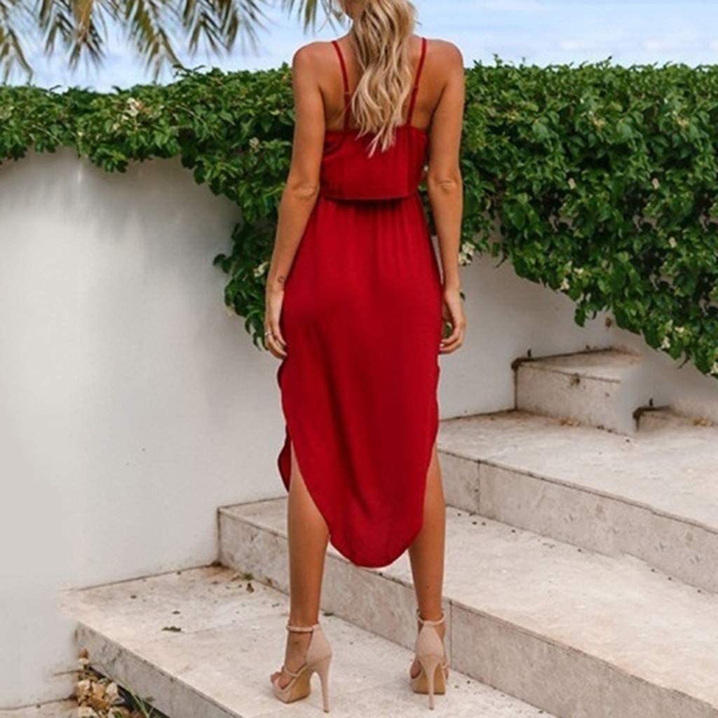 AIMTOPPY Womens Adjustable Strappy Split Tie Up Solid Summer Beach Casual Midi Dress