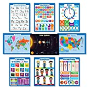 9 Educational Wall Posters For Kids - ABC - Alphabet, Solar System, USA Map, World Map, Numbers 1-100 +, Days of the Week, Months of the Year, Emotions, Time | Learning Charts (PAPER)