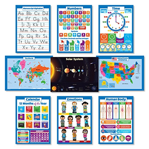 - 9 Educational Wall Posters For Kids - ABC - Alphabet, Solar System, USA Map, World Map, Numbers 1-100 +, Days of the Week, Months of the Year, Emotions, Time | Learning Charts (PAPER)