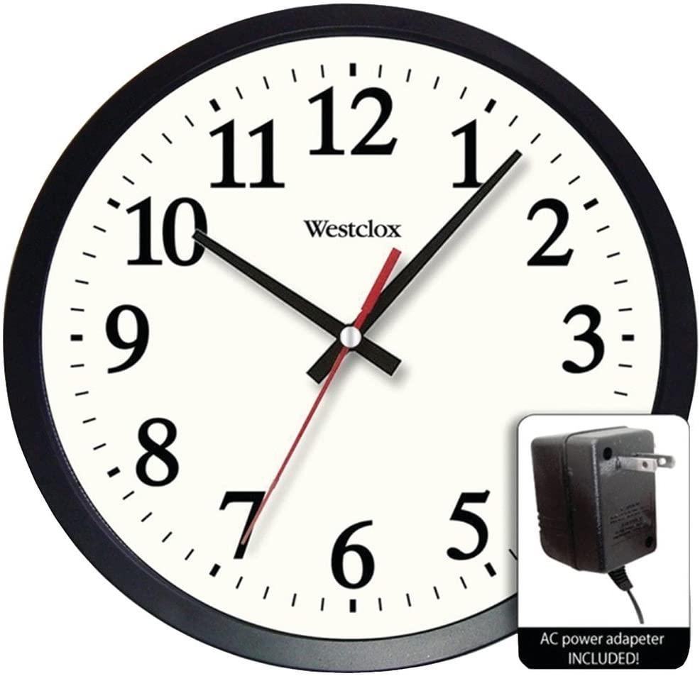 Amazon Com Westclox 14 Round Electric Powered Office Wall Clock White Home Kitchen