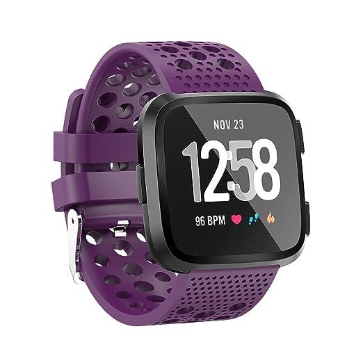 Bandas de Deporte para Fitbit Versa, Javpoo Reloj Deportivo de Repuesto de Silicona Suave Correa de Banda Fitbit Versa Smart Fitness Watch, Small Large: ...