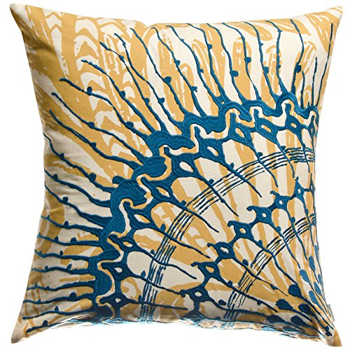 Koko Water Collection Prints and Embroidery Cotton Decorative Pillow, 18-Inch by 18-Inch, Blue/Mustard ()