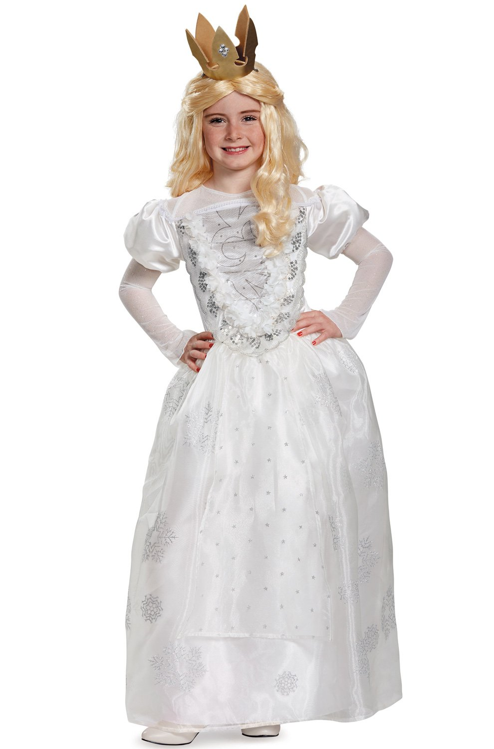 Queen Deluxe Alice Through The Looking Glass Movie Disney Costume, White, Large/10-12