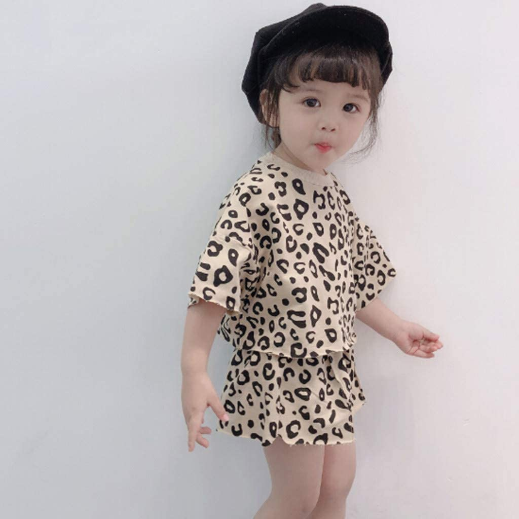 Fabal Toddler Kids Baby Girls Outfits Clothes Leopard T-Shirt Tops+Shorts 2PCS Set