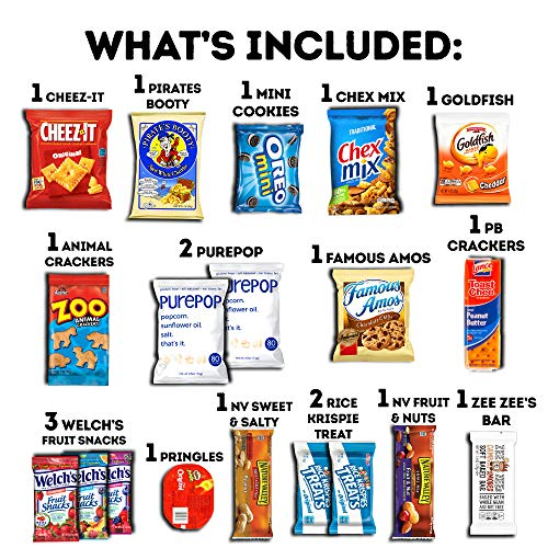 CraveBox Care Package (60 Count) Snacks Food Cookies Granola Bar Chips Candy Ultimate Variety Gift Box Pack Assortment…