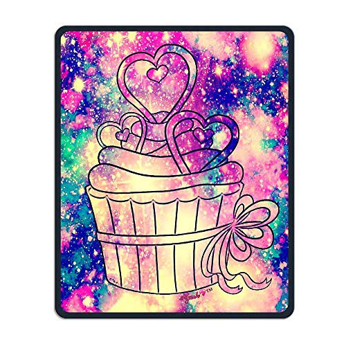 Mouse Pad Sweet Cupcake with Colorful Background Rectangle Rubber Mousepad Length 8.66 Width 7.09 Inch Gaming Mouse Pad with Black Lock Edge -