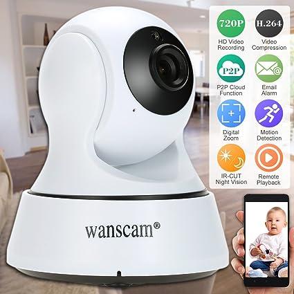 Wanscam HD 720P Cámara IP Interior WiFi Pan Tilt PTZ TF Card 2-Vias Audio
