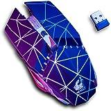 Mouse Gamer Inalámbrico Recargable, Ratón Inalámbrico Recargable Luz RGB, 6 Botones y 3 DPI Ajustable, Clic Silenciso, Precis