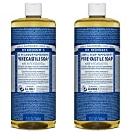Dr. Bronner's - Pure-Castile Liquid Soap (Peppermint, 32 ounce, 2-Pack) - Made with Organic Oils, 18-in-1 Uses: Face, Body, Hair, Laundry, Pets and Dishes, Concentrated, Vegan, Non-GMO 2 MADE WITH ORGANIC OILS and CERTIFIED FAIR TRADE INGREDIENTS: Dr. Bronner's Pure-Castile Liquid Soaps are made with over 90% organic ingredients. Over 70% of ingredients are certified fair trade, meaning ethical working conditions and fair prices. GOOD FOR YOUR BODY and THE PLANET: Dr. Bronner's liquid soaps are fully biodegradable and use all-natural, vegan ingredients that pose no threat to the environment. Our products and ingredients are never tested on animals and are cruelty-free. NO SYNTHETIC PRESERVATIVES, DETERGENTS, OR FOAMING AGENTS: Our liquid soaps are made with plant-based ingredients you can pronounce-no synthetic preservatives, thickeners, or foaming agents-which is good for the environment and great for your skin!