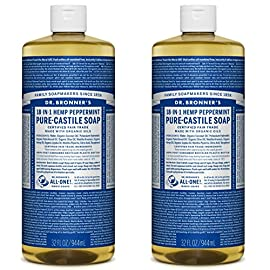 Dr. Bronner's - Pure-Castile Liquid Soap (Peppermint, 32 ounce, 2-Pack) - Made with Organic Oils, 18-in-1 Uses: Face, Body, Hair, Laundry, Pets and Dishes, Concentrated, Vegan, Non-GMO 3 MADE WITH ORGANIC OILS and CERTIFIED FAIR TRADE INGREDIENTS: Dr. Bronner's Pure-Castile Liquid Soaps are made with over 90% organic ingredients. Over 70% of ingredients are certified fair trade, meaning ethical working conditions and fair prices. GOOD FOR YOUR BODY and THE PLANET: Dr. Bronner's liquid soaps are fully biodegradable and use all-natural, vegan ingredients that pose no threat to the environment. Our products and ingredients are never tested on animals and are cruelty-free. NO SYNTHETIC PRESERVATIVES, DETERGENTS, OR FOAMING AGENTS: Our liquid soaps are made with plant-based ingredients you can pronounce-no synthetic preservatives, thickeners, or foaming agents-which is good for the environment and great for your skin!