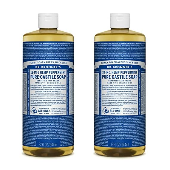 Dr. Bronner's - Pure-Castile Liquid Soap (Peppermint, 32 ounce, 2-Pack) - Made with Organic Oils, 18-in-1 Uses: Face, Body, Hair, Laundry, Pets and Dishes, Concentrated, Vegan, Non-GMO 1 MADE WITH ORGANIC OILS and CERTIFIED FAIR TRADE INGREDIENTS: Dr. Bronner's Pure-Castile Liquid Soaps are made with over 90% organic ingredients. Over 70% of ingredients are certified fair trade, meaning ethical working conditions and fair prices. GOOD FOR YOUR BODY and THE PLANET: Dr. Bronner's liquid soaps are fully biodegradable and use all-natural, vegan ingredients that pose no threat to the environment. Our products and ingredients are never tested on animals and are cruelty-free. NO SYNTHETIC PRESERVATIVES, DETERGENTS, OR FOAMING AGENTS: Our liquid soaps are made with plant-based ingredients you can pronounce-no synthetic preservatives, thickeners, or foaming agents-which is good for the environment and great for your skin!