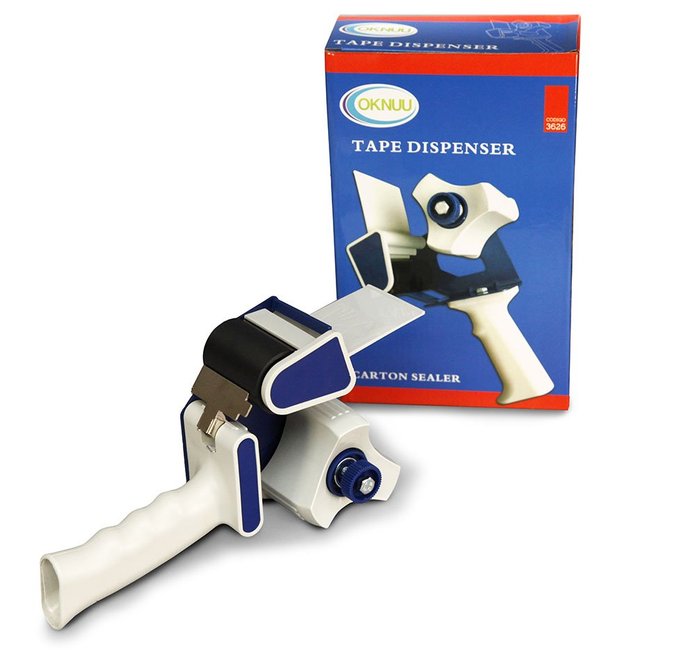 Oknuu 2'' Inch Wide Heavy Duty Tape Dispenser Gun - Lightweight Ergonomic Industrial Gun for Shipping, Moving, Carton and Box Sealing